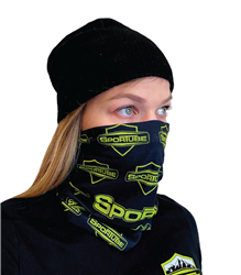 Black neck gaiter with neon green logo to cover face.